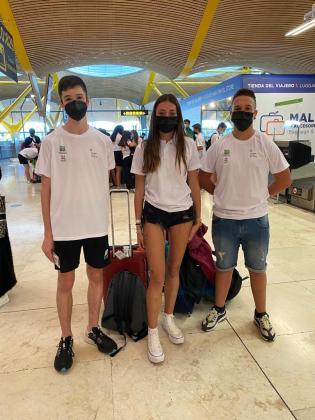 Roper, García y Perales, ayer antes de volver a Ibiza.