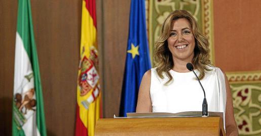 La socialista Susana Díaz, durante su toma de posesión como presidenta de la Junta de Andalucía que se celebró en el Parlamento andaluz.