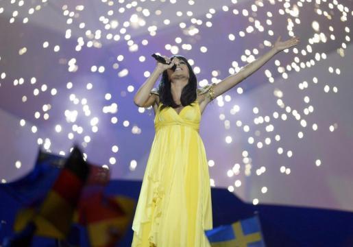 La cantante de El Sueño de Morfeo, durante la actuación en Eurovisión 2012.