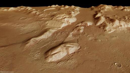 Imagen facilitada por la Agencia Espacial Europea (ESA) de la Phlegra Montes, en la superficie de Marte.