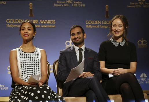 Los actores Zoe Saldana, Aziz Ansari y Olivia Wilde (de izq. a dcha.) han sido los encargados de anunciar los nominados a los Globos de Oro 2013.