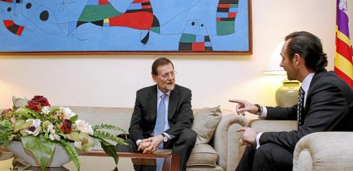 José Ramón Bauzá, con Mariano Rajoy, en la única visita oficial del presidente del Gobierno al Consolat de la Mar.