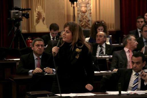 Joana Maria Camps, durante el pleno de esta mañana.