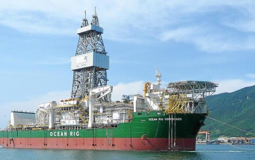 El Ocean Rig Corcovado, uno de los barcos de perforación petrolífera de la compañía Cairn Energy.