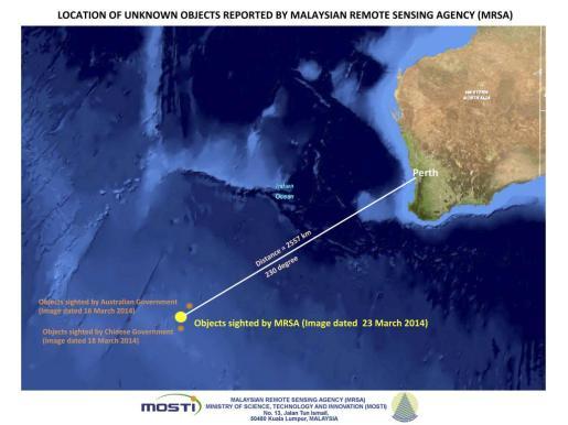 Foto de satélite que muestra la zona donde se han avistado objetos desconocidos que podrían pertenecer al avión malasio desaparecido.