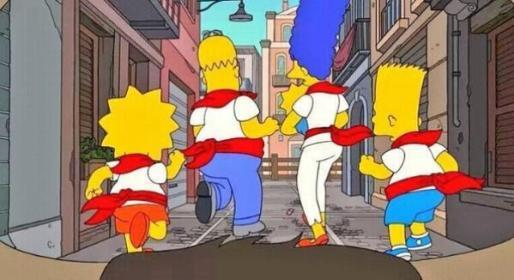 Imagen de los Simpson corriendo los Sanfermines.