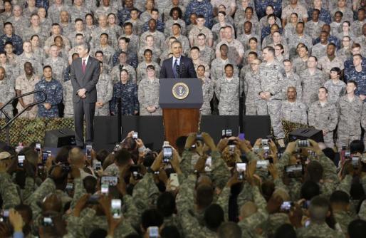 El presidente de Estados Unidos, Barack Obama, durante su discurso al personal militar estadounidense en la base Yongsan Garrison, en Seúl.