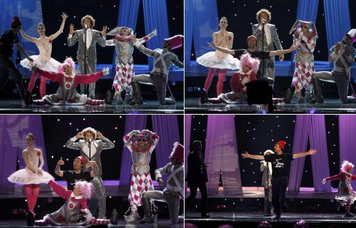 Un espontáneao saltó al escenario cuando el cantante español Daniel Diges actuaba en el Festival de Eurovisión.