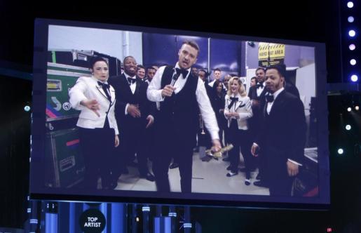 Imagen de Justin Timberlake, durante la entrega de premios.