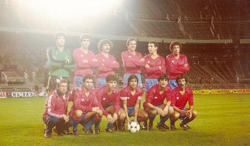 Imagen del equipo titular del SD Portmany en el estadio Vicente Calderón, en Madrid.