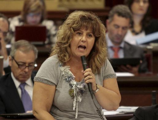 Joana Maria Camps, ayer en el Parlament tras conocerse los primeros fallos.