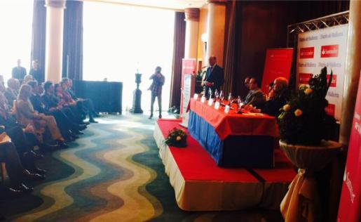 Luis de Guindos, durante la conferencia titulada «Las claves de la recuperación económica en España» que ha ofrecido en Palma.