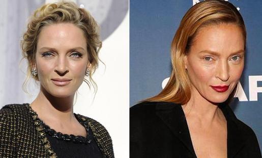 A la izquierda, Uma Thurman en una foto de archivo. A la derecha, el nuevo aspecto de su rostro.