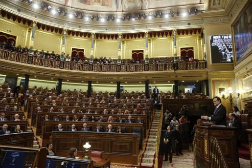 Vista general del hemicíclo de la Cámara Baja, durante la interverción del presidente del Gobierno, Mariano Rajoy en el vigésimo quinto debate del estado de la nación.