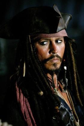 Imagen del actor Johnny Depp en la película Piratas del Caribe.