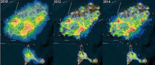 El aumento de la contaminación lumínica se puede apreciar en estos tres mapas.