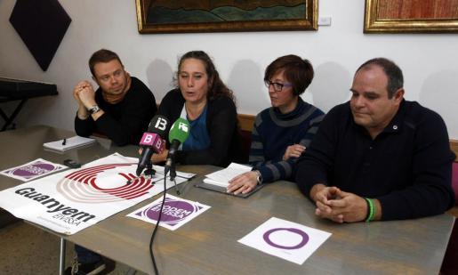 Imagen de la rueda de prensa de Podemos y Guanyem.