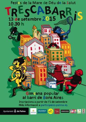 Cartel de la gincana que se celebrará en la barriada de Bons Aires.