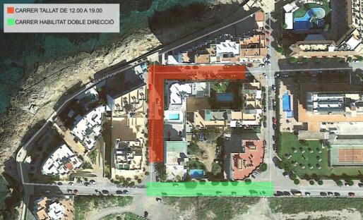 El plano muestra el tramo en rojo que mañana permanecerá cortado y en verde el que se ha habilitado al tránsito.