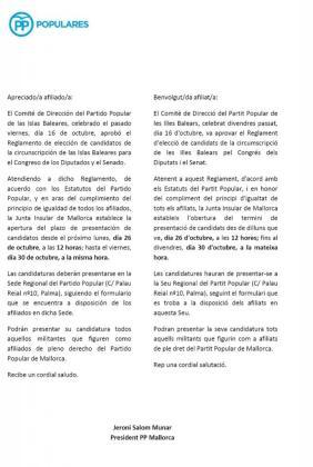 Copia del correo que el PP ha enviado a más de 7.000 militantes de Mallorca para que conozcan el proceso de presentación de las candidaturas.