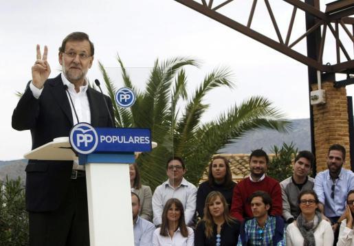 El presidente del Gobierno durante su intervención en un acto del PP en Alicante, el último antes de convocar el próximo lunes las elecciones generales.