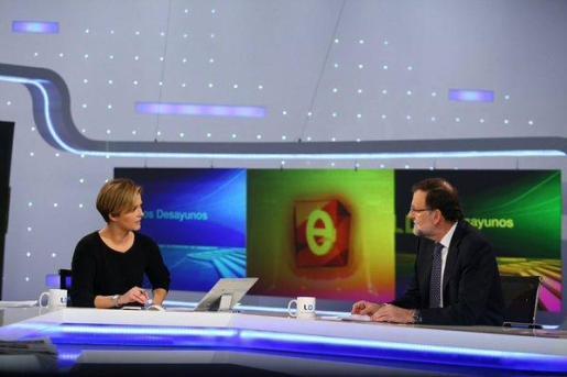 Mariano Rajoy, durante la entrevista en los Desayunos de TVE.
