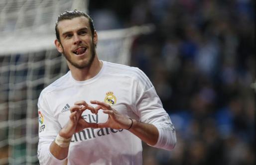 Gareth Bale celebra la consecución del cuarto gol de su equipo al Rayo Vallecano.