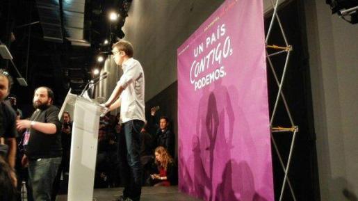Íñigo Errejón, secretario político de Podemos, durante la rueda de prensa.