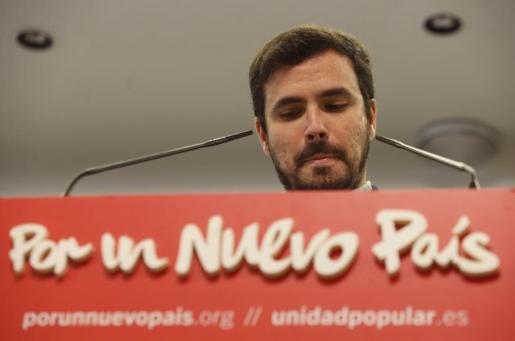 El candidato de IU-Unidad Popular a la presidencia del Gobierno, Alberto Garzón, ha analizado ante los medios los resultados electorales.