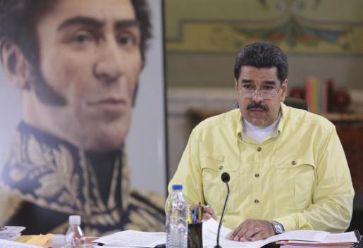 El presidente de Venezuela, Nicolás Maduro, durante una conferencia sobre Simón Bolívar en el Palacio de Miraflores este jueves.