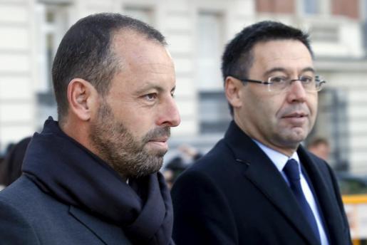 Sandro Rosell y Josep Maria Bartomeu, a su llegada a los juzgados este lunes.