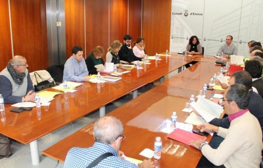 La consellera de Territori i Mobilitat, Pepa Marí reunida con representantes de los ayuntamientos de la isla y taxistas. Foto: CONSELL D'EIVISSA