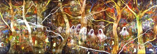 Triptico 'Bosque de Birman', una de las obras que Mayado presenta en Eivissa.