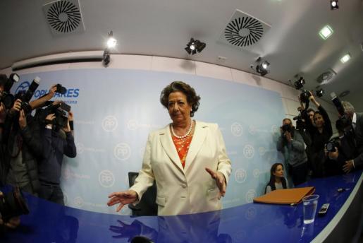 La exalcaldesa de Valencia y senadora, Rita Barberá, durante su primera rueda de prensa desde que se produjeron las detenciones por el denominado caso Imelsa.