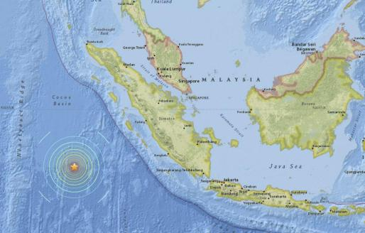 Imagen facilitada por el Servicio Geológico de los Estados Unidos que muestra la localización exacta del seísmo registrado al suroeste de la isla de Sumatra (Indonesia), este míercoles 2 de marzo de 2016.