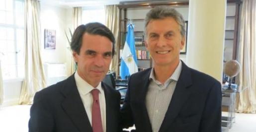 José María Aznar y Mauricio Macri en el despacho del presidente argentino.