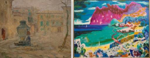 Pinturas de la muestra que se ha podido ver en Pollença y que centran este taller de fotografía.