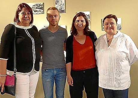 David Ribas y Mar Rescalvo, junto a las técnicas de cultura del Consell, Lina Sansano y Cristina Palau.