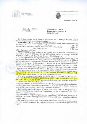 Imagen de la denuncia presentada contra el diputado socialista Enric Casanova por la propietaria de la cafetería Can Ady.