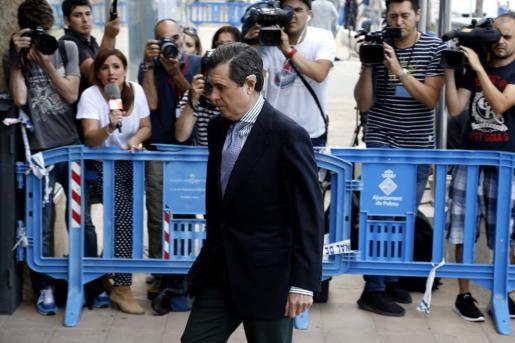 Jaume Matas, este martes, llegando al juicio.