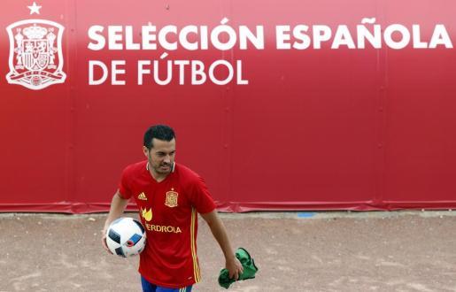 El delantero de la selección española Pedro Rodríguez durante el entrenamiento de este lunes.