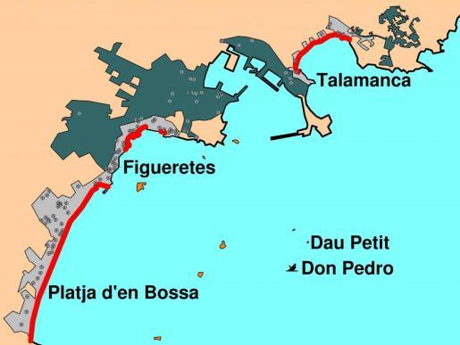 Platges afectades per l'abocament d'unes 20 tones de petroli procedents del vaixell Don Pedro en el mes de juliol de 1997.