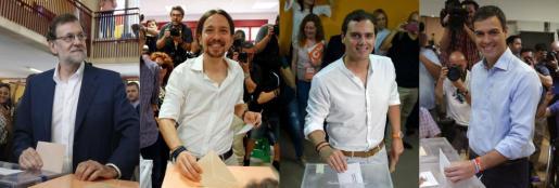 Mariano Rajoy, Pablo Iglesias, Albert Rivera y Pedro Sánchez, votando en la convocatoria del 26J.
