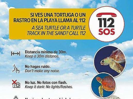 En caso de avistamiento de una tortuga hay que llamar al 112.