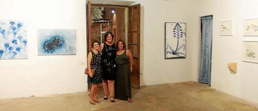 Diana Bustamante y Doralice Souza (centro e izquierda), junto con una visitante a Algaid'Art.