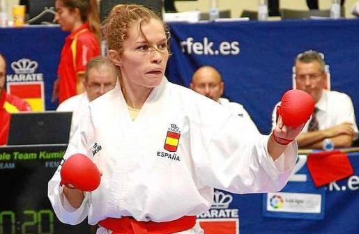 La karateca ibicenca durante el Campeonato de Hamburgo.