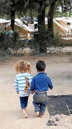 Niños en el campamento de Ritsona. Foto: SOLIDARIDAD CON RITSONA