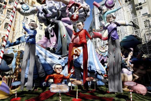 Los cuatro lideres politicos Mariano Rajoy, Albert Rivera, Pedro Sanchez y Pablo Iglesias, en la escena de 'el circo de la poltica' en una de las fallas de Valencia.