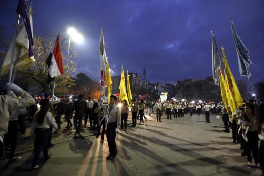 Actos festivos en Damasco, la capital del régimen gubernamental, aparentemente ajena a la guerra que se vive en buena parte del país.