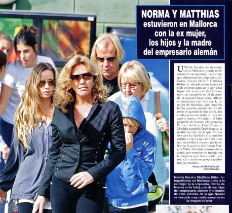 Norma Duval, junto a sus hijos a su actual pareja, Matthias Kuhn.
